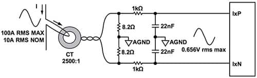 Diagram of Analog Devices ADE9078 AFE