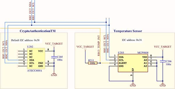Diagram of Microchip Technology ATECC608A CryptoAuthentication IC